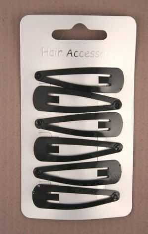 6 plain black sleepie clips (Code 0024)